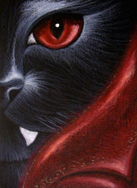 Art: HALLOWEEN BLACK DEVIL CAT KATZE 3 by Artist Cyra R. Cancel