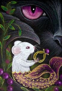 Detail Image for art BLACK CAT MERCAT - MERMAID MOUSE - RING 1