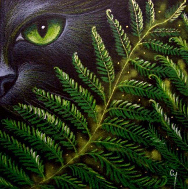 Art: BLACK CAT BEHIND THE FERNS by Artist Cyra R. Cancel
