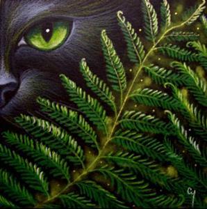Detail Image for art BLACK CAT BEHIND THE FERNS