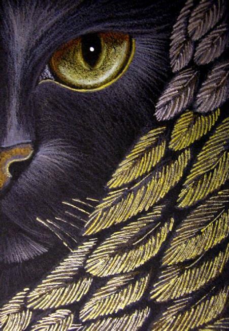 Art: BLACK ANGEL CAT - SILVER/GOLD by Artist Cyra R. Cancel
