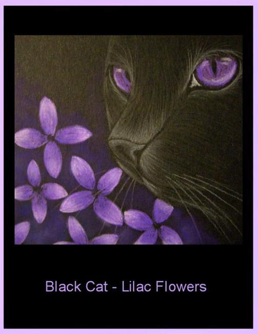 Art: Black Cat - Lilac Flowers -EBSQ  by Artist Cyra R. Cancel