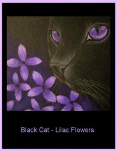 Detail Image for art Black Cat - Lilac Flowers -EBSQ