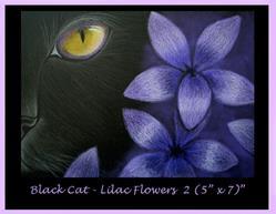 Art: Black Cat - Lilac Flowers 2 by Cyra R. Cancel