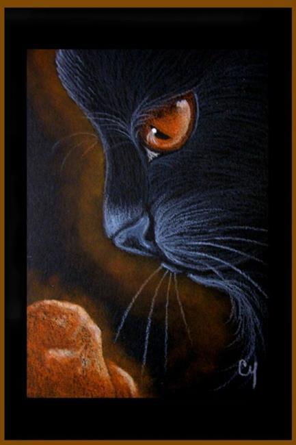 Art: BLACK CAT - JULY by Artist Cyra R. Cancel