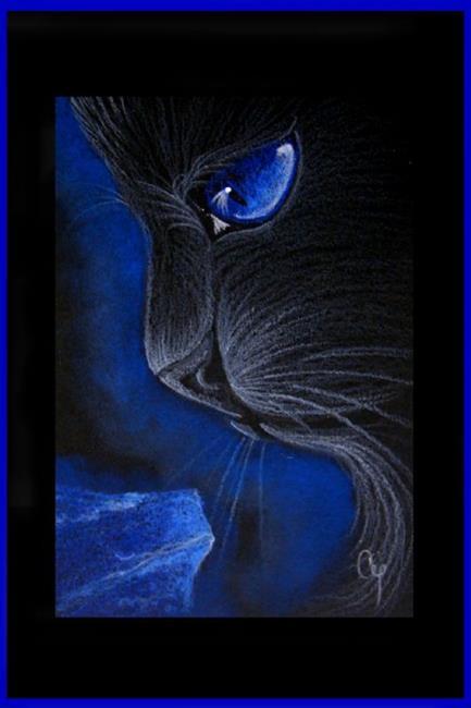 Art: BLACK CAT - LAPIS LAZULI by Artist Cyra R. Cancel