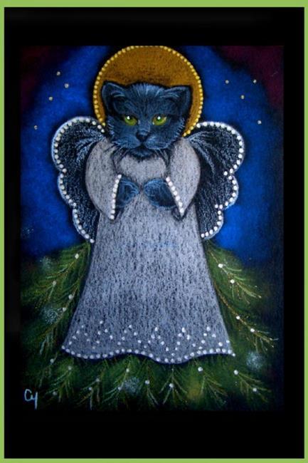 Art: BLACK CAT  30 - HOLIDAY by Artist Cyra R. Cancel
