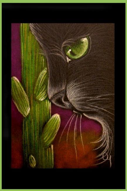 Art: BLACK CAT - SAGUARO CACTUS -AWARD by Artist Cyra R. Cancel