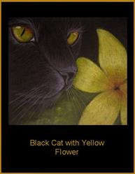 Art: Black Cat with Yellow Flower by Cyra R. Cancel