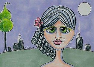 Art: Graveyard Shift-29 Faces by Artist Sherry Key