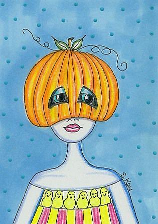Art: Pumpkinhead with Peeps-Sold by Artist Sherry Key