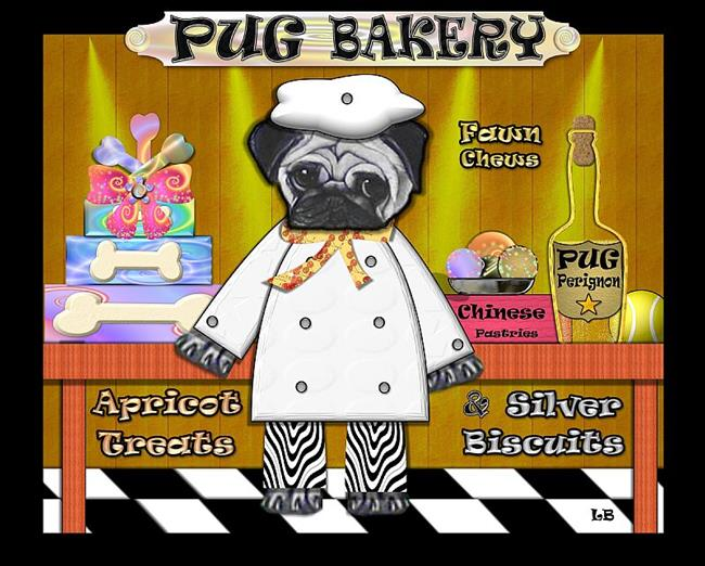 Art: Pug Bakery by Artist Laura Barbosa