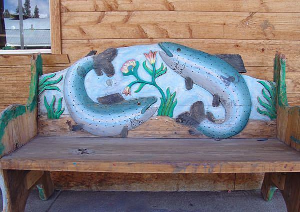 Art: Playful Trout in town by Artist Jo Lynch