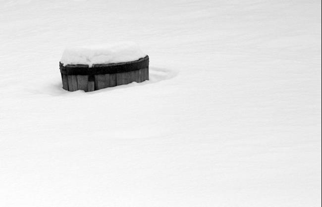 Art: whiskey barrel snowscape by Artist W. Kevin Murray