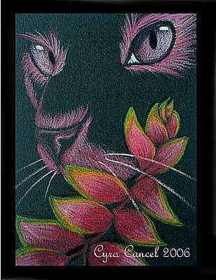 kats challenge pink cat w exotic flowersold  by cyra r. cancel, Natural flower