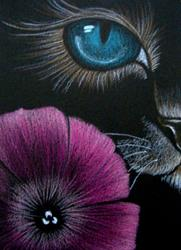 Art: Cat Behind the Petunia Flower EBSQ Show AWARD WINNER by Artist Cyra R. Cancel