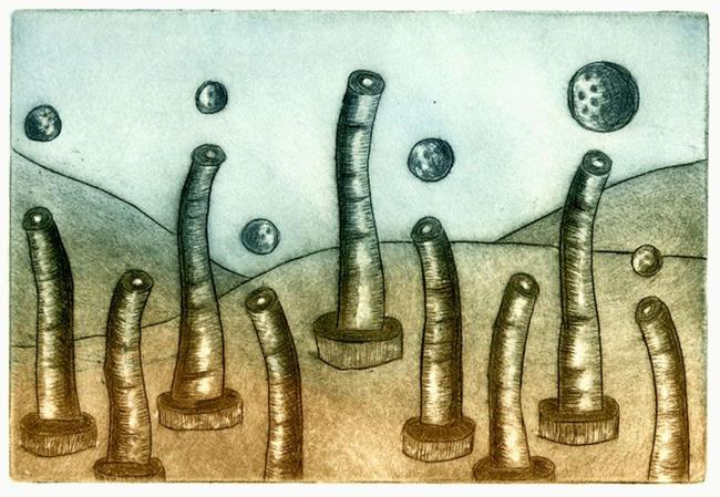 Art: Tube Worm Colony by Artist Wendy L. Gonick