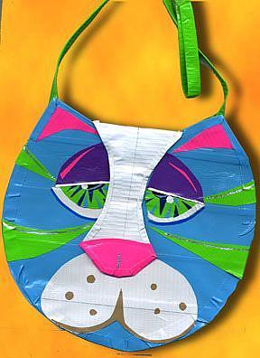 Art: Duct tape Blue Kitty Purse (SOLD) by Artist Alma Lee