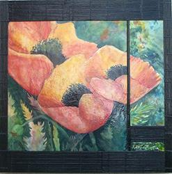 Art: Encaustic Poppies by Artist Ulrike 'Ricky' Martin