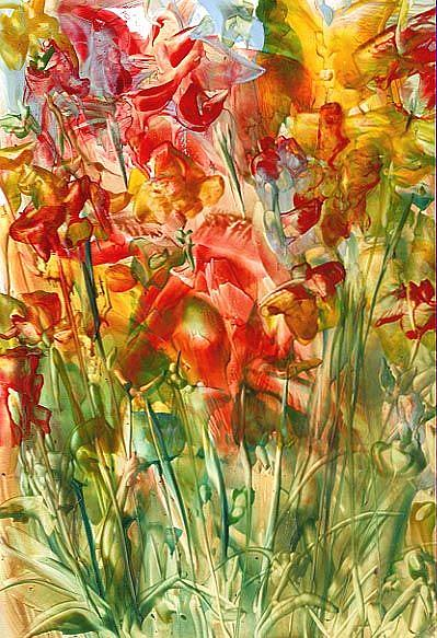 Art: Floral Abstract # 9 by Artist Ulrike 'Ricky' Martin