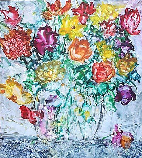 Art: Flower Bouquet on Ceramic Tile by Artist Ulrike 'Ricky' Martin