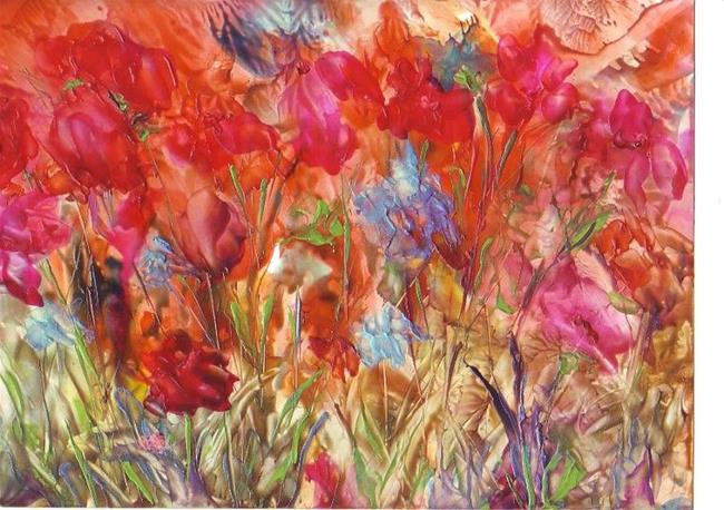 Art: Vivid Abstract Floral by Artist Ulrike 'Ricky' Martin