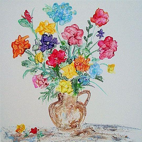 Art: FLOWER MEDLEY ON CERAMIC TILE by Artist Ulrike 'Ricky' Martin