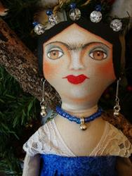 Art: OOAK FOLK ART FRIDA DOLL IN BLUE & WHITE by Artist Cyra R. Cancel