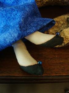 Detail Image for art OOAK FOLK ART FRIDA DOLL IN BLUE & WHITE