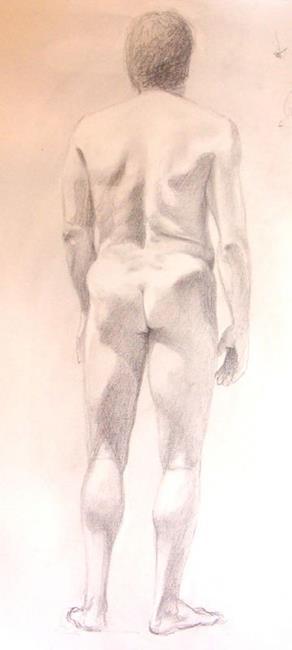 Art: BACK OF NUDE MAN by Artist Lauren Cole Abrams