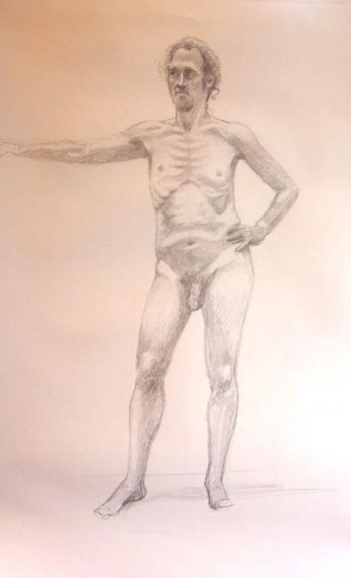 Art: THIN NUDE MAN by Artist Lauren Cole Abrams