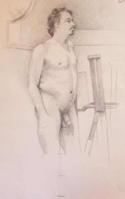 Art: NUDE MAN WITH EASEL by Artist Lauren Cole Abrams