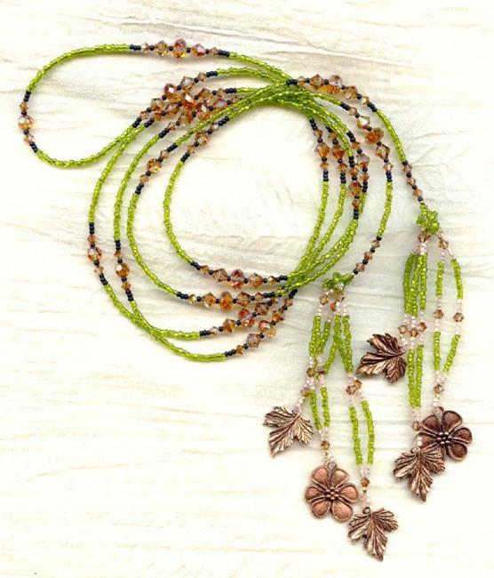 Art: Sparkling Olive Green, Copper Charms and Swarovski Copper Crystal Beads by Artist Sparkle Plenty Fine Beaded Jewellery
