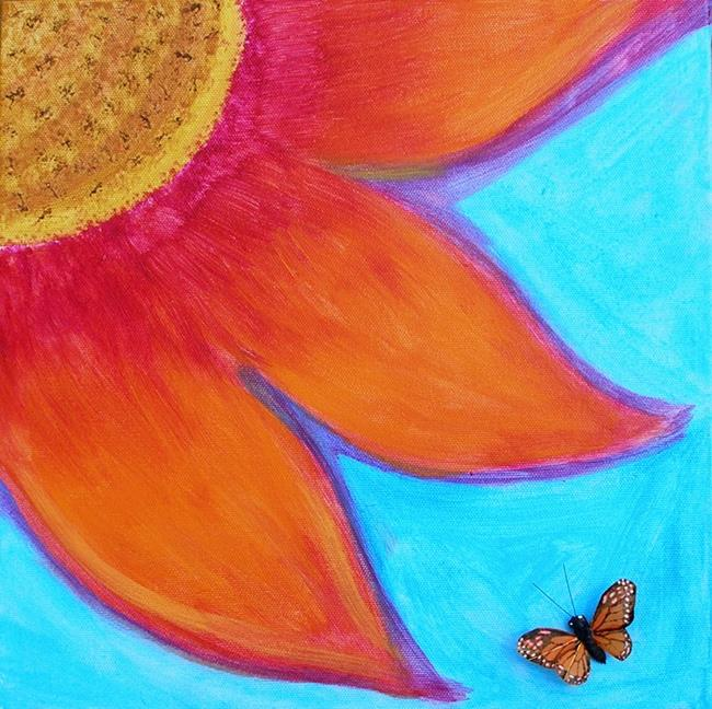 Art: Monarch Butterfly & Large Abstract Flower by Artist Diane G. Casey