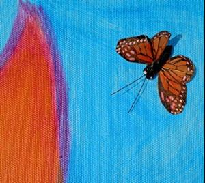 Detail Image for art Monarch Butterfly & Large Abstract Flower
