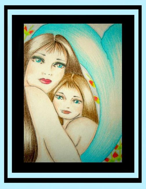Art: MOTHER'S LOVE (MERMAID & DAUGHTER) (SOLD) EBSQ  by Artist Cyra R. Cancel