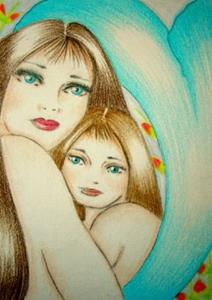 Detail Image for art MOTHER'S LOVE (MERMAID & DAUGHTER) (SOLD) EBSQ