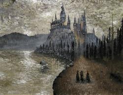 Art: Harry Potter Hogwarts First Year Original Painting Fantasy art Hagrid Pumpk by Artist J A Blackwell