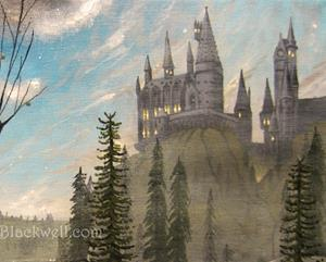 Detail Image for art Harry Potter Original Painting Fantasy Gothic Illustration Chamber of Secre