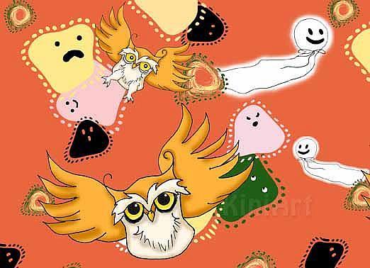 Art: Halloween Owls by Artist KiniArt