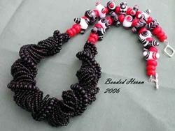 Art: Solid Black Dutch Spiral & Warring States Lampwork Bead Necklace by Artist Stephanie M. Daigle