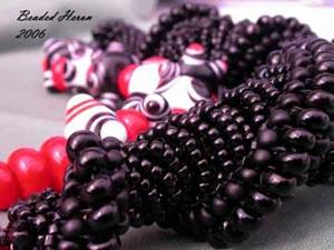 Detail Image for art Solid Black Dutch Spiral & Warring States Lampwork Bead Necklace