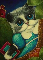 Art: TUXEDO GIRLY KITTEN CAT WITH NEW DRESS BACK TO SCHOOL by Artist Cyra R. Cancel