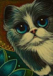 Art: BICOLOR PERSIAN ANGEL CAT WITH HALO IN MY GARDEN by Artist Cyra R. Cancel