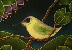 Art: TINY VIOLET CROWNED HUMMINGBIRD by Artist Cyra R. Cancel