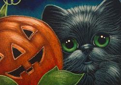 Art: BLACK CAT - A HALLOWEEN PUMPKIN WITH A FACE by Artist Cyra R. Cancel