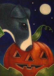 Art: GREYHOUND DOG - A HALLOWEEN PUMPKIN WITH A FACE by Artist Cyra R. Cancel