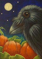Art: RAVEN CROW WITH PUMPKIN GARDEN - THEY ARE READY by Artist Cyra R. Cancel