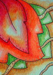 Art: AUTUMN LEAVES ACEO WATERCOLOR-MIXED MEDIA PAINTING by Artist Cyra R. Cancel