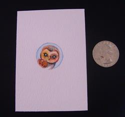 Art: QUARTER SIZE BARN OWL PAINTING ACEO by Artist Cyra R. Cancel